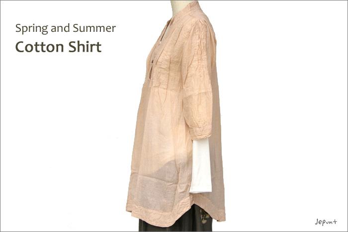 シャツ■ウッドボタンのコットンシャツ(BEIGE)ななめ