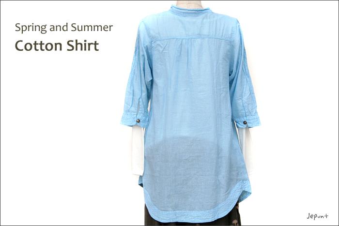 シャツ■ウッドボタンのコットンシャツ(BLUE)後ろ