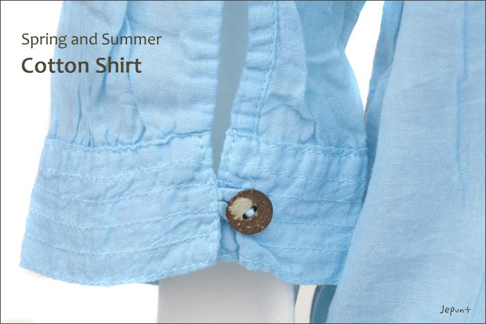 シャツ■ウッドボタンのコットンシャツ(BLUE)袖口のウッドボタン