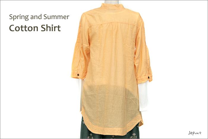 シャツ■ウッドボタンのコットンシャツ(ORANGE)後ろ