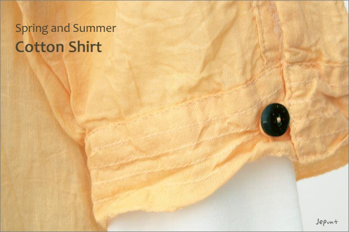 シャツ■ウッドボタンのコットンシャツ(ORANGE)袖口のウッドボタン